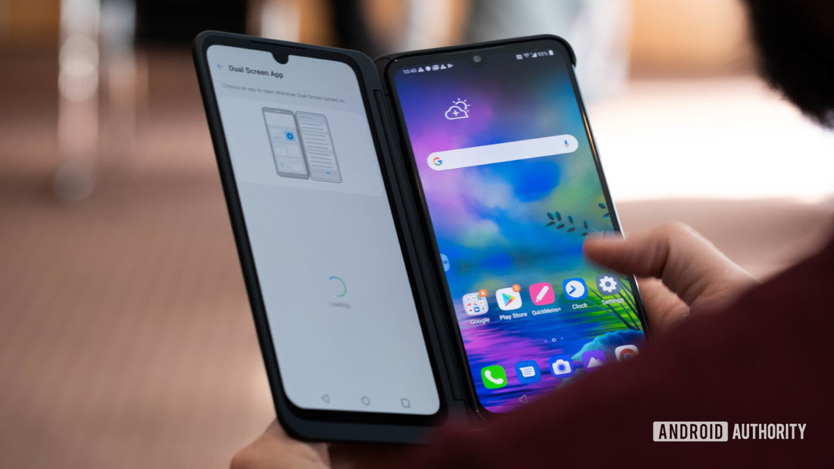 LG G8X ThinQ angled dual screen in hand