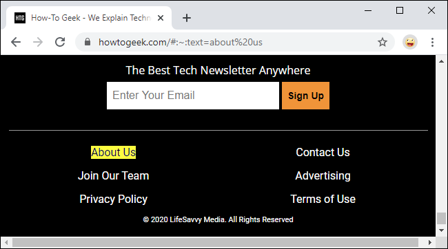 Deep linking to text fragments in Google Chrome 80