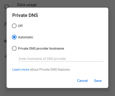 Private DNS over TLS Android P Beta 2