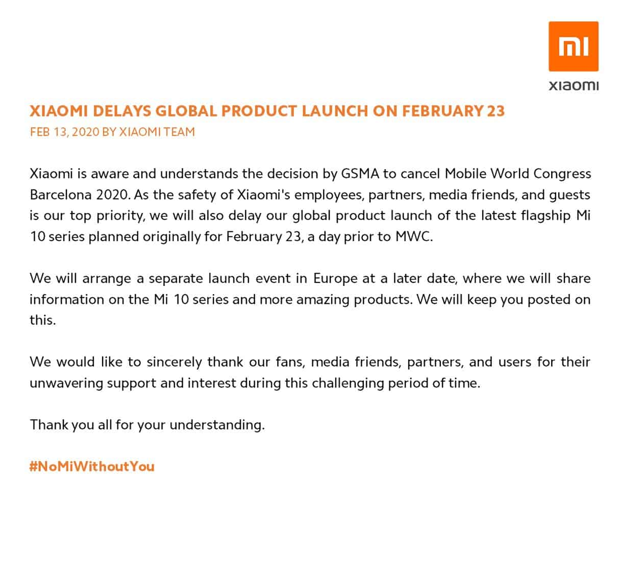 Xiaomi cancels February 23 2020 event