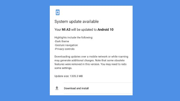Xiaomi Mi A3 Gets Android 10 OS Update With System-Wide Dark Mode