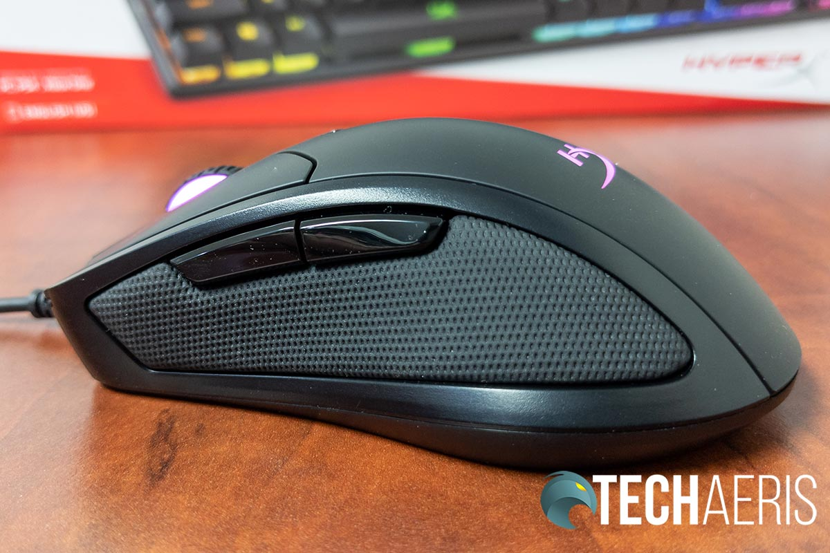 The left side of the HyperX Pulsefire Dart wireless gaming mouse