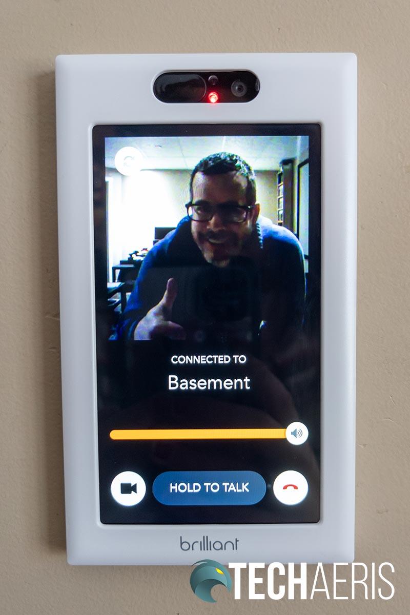 The video camera intercom with a second Brilliant Home Control unit