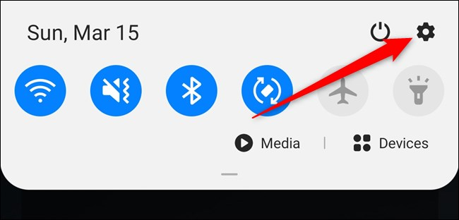 Samsung Galaxy S20 Open the Notification Shade and then Select the Settings Gear