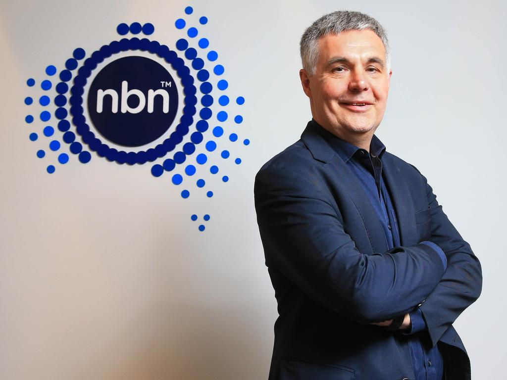 """NBN Co chief executive Stephen Rue says the network has seen """"a small increase in demand"""" already and peak demand was likely to switch from 9pm to the daylight hours. Picture: Aaron Francis"""
