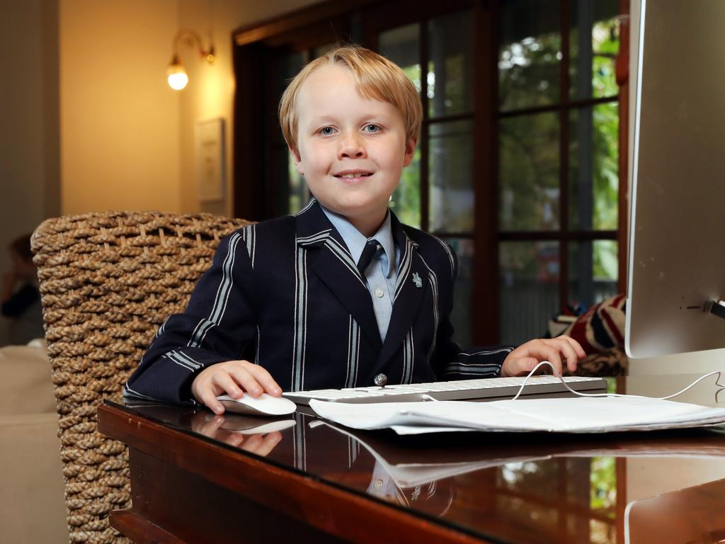Charlie Morrison, 7, is one of many people at home using the internet. Picture: Richard Dobson