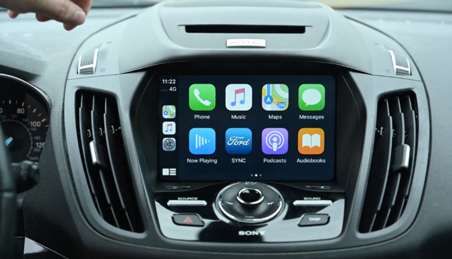 The current CarPlay using iOS 13. There's nothing wrong with that, but this display is to the right of the steering wheel, and so takes the driver's attention off the road.