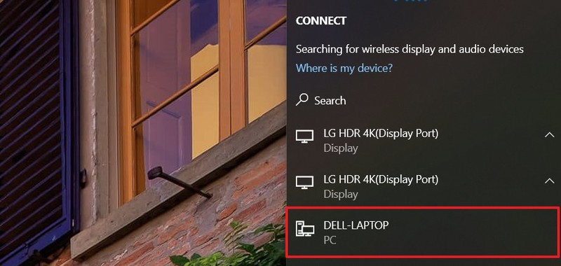 Connect list of wireless displays on Windows 10