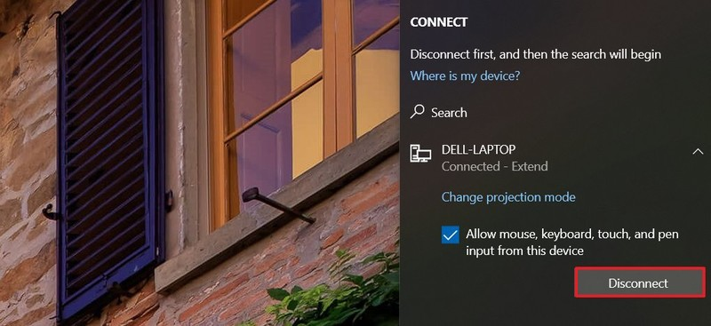 Windows 10 disconnect wireless display