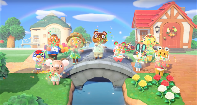 scene on a bridge in the Animal Crossing: New Horizons game