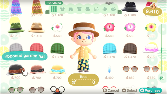 choosing an avatar outfit in Animal Crossing: New Horizons