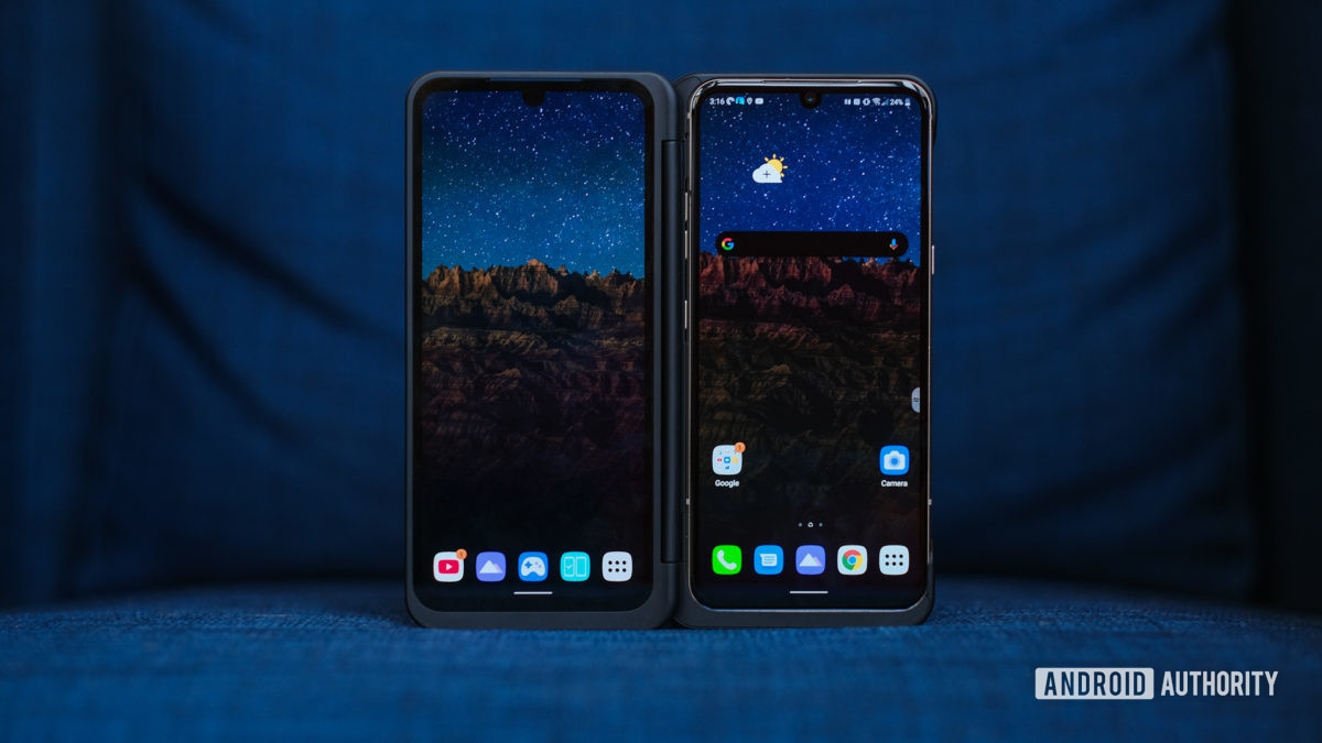 LG V60 tips dual screen open on chair 2