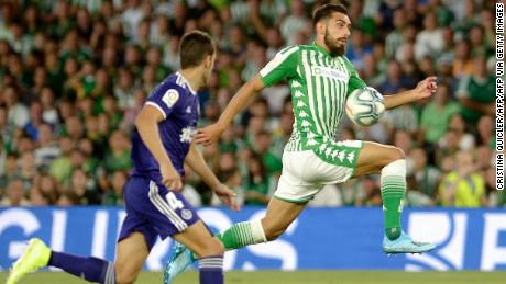 Borja Iglesias receives a pass against Real Valladolid in August last year.