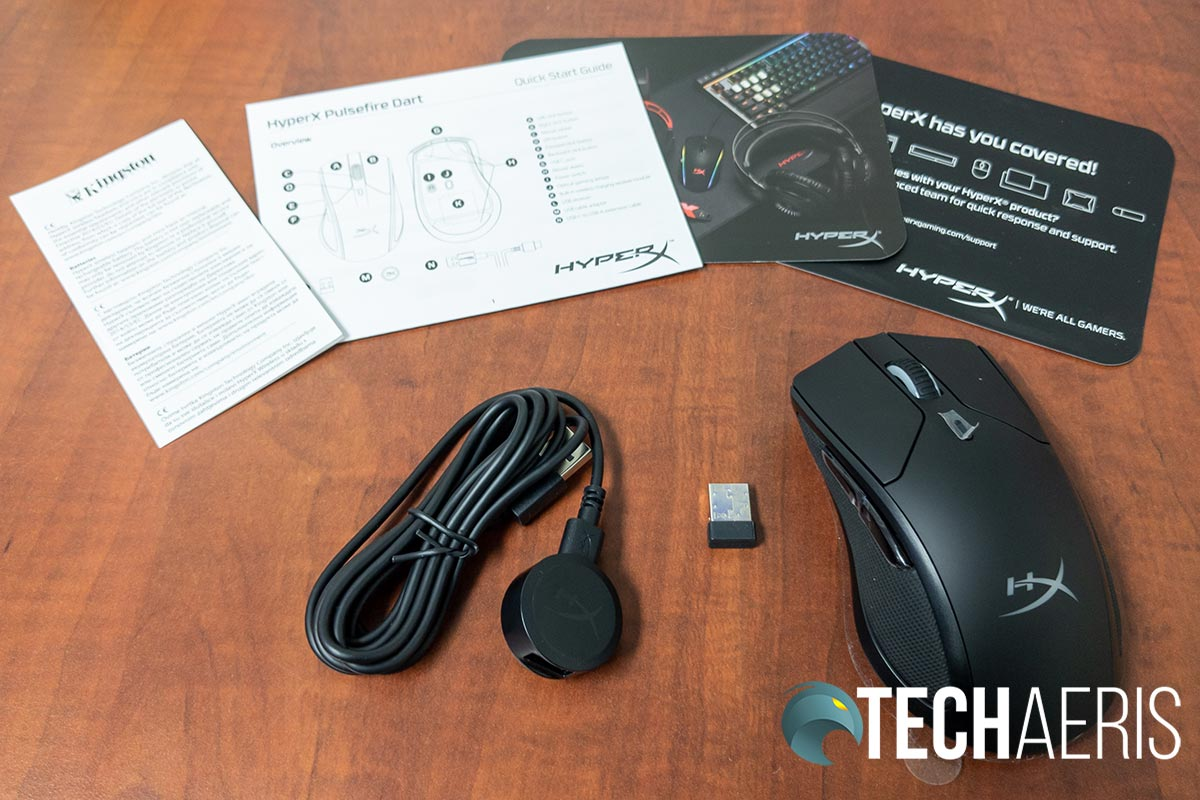 What's included with the HyperX Pulsefire Dart wireless gaming mouse