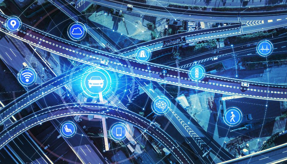 Transportation and wireless communication network concept. Automotive technology. 5G. Internet of Things.