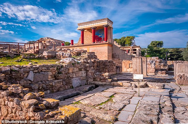 Pictured, a view of the ruins of the famous Minoan palace of Knossos, the centre of the Minoan civilisation and one of the largest archaeological sites in Greece.A study discovered the powerful civilisation was wiped out around 1,560BC when mount There erupted