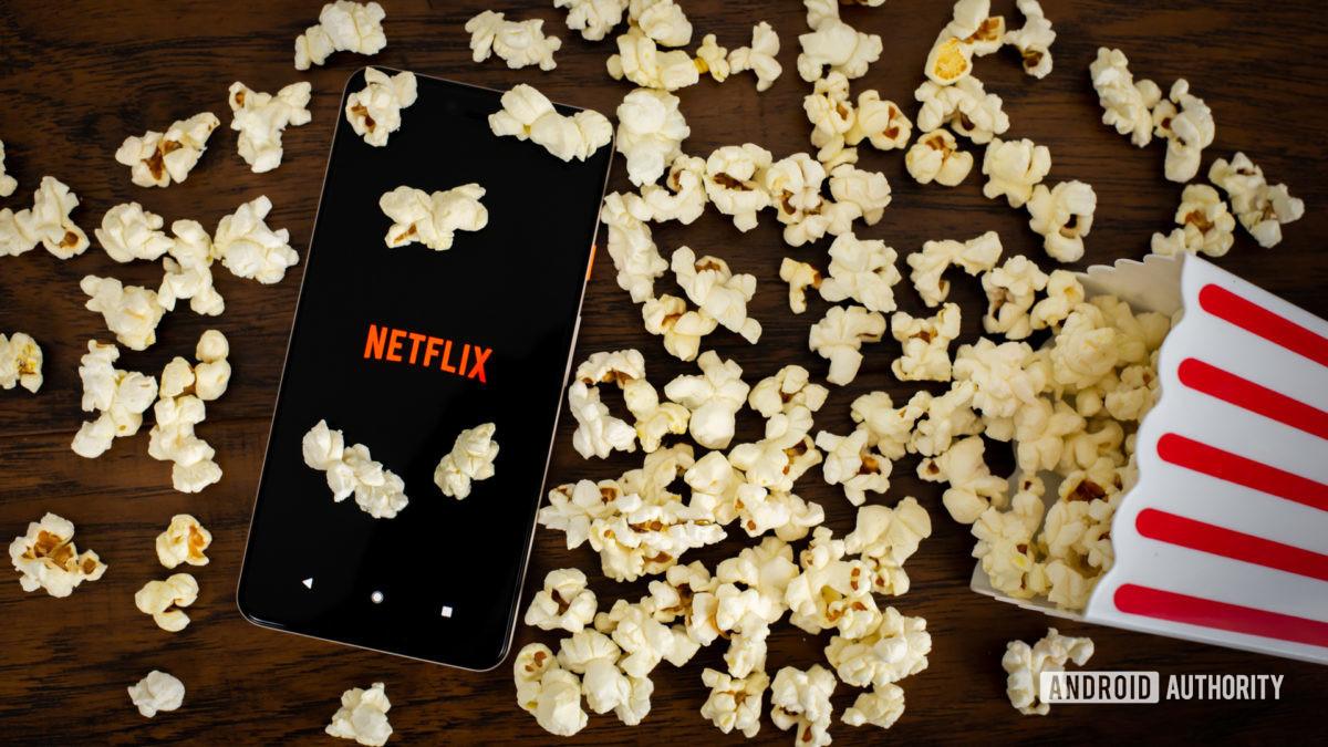 Netflix with popcorn stock photo 1