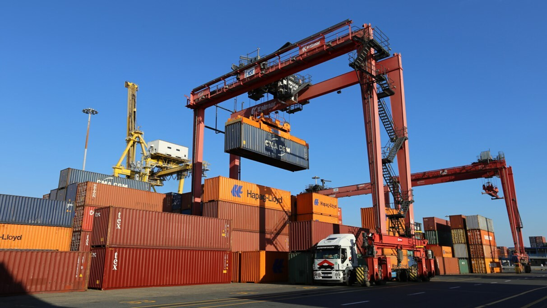 Unloading at dock