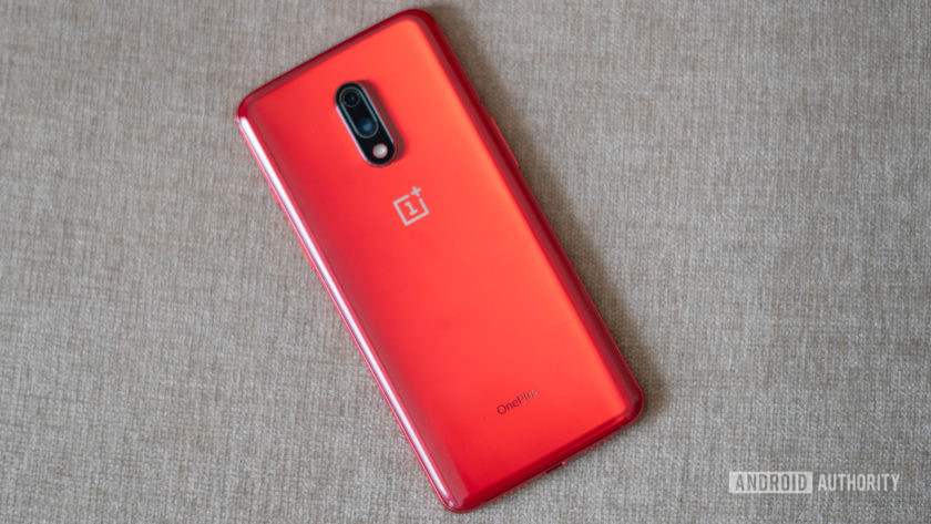 OnePlus 7 red back panel with camera and logo