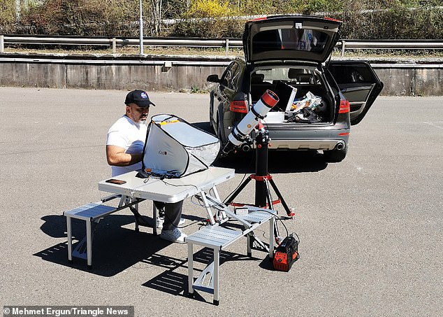 Mehmet took three weeks planning the mission and travelled 30 miles from his home in Rheinbollen, Germany, to capture the ISS, using aRainbow RST-135, among other equipment, which mounts a camera to a telescope