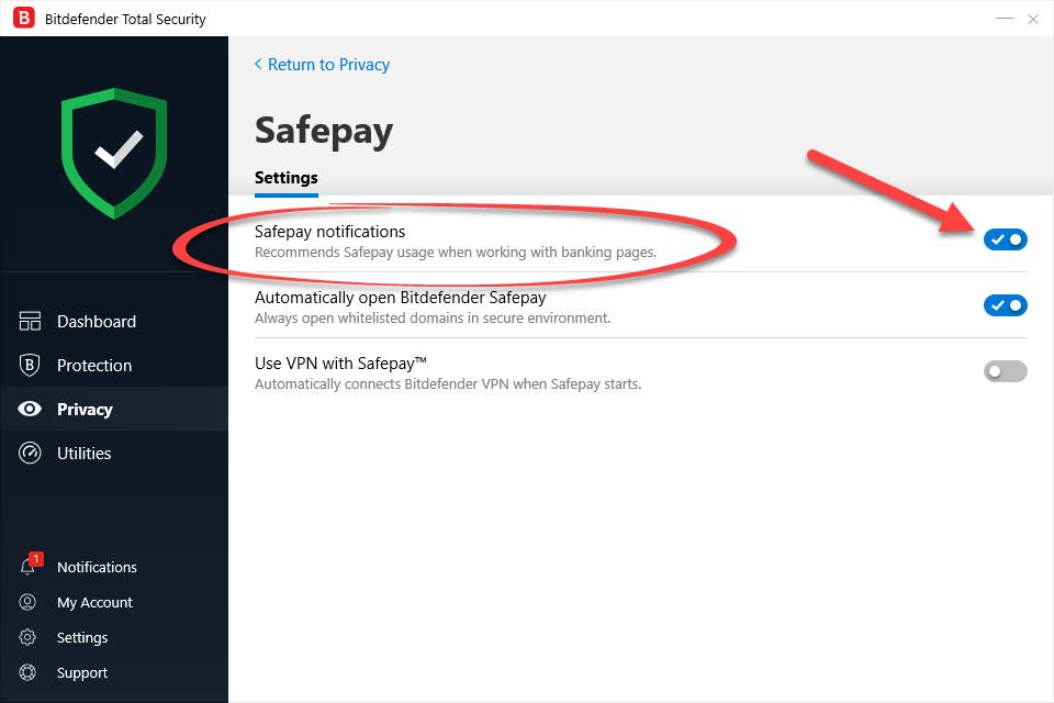 How to turn off Safepay notifications