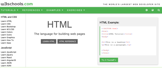 The W3 Schools site is a great resource for learning to code (W3schools)