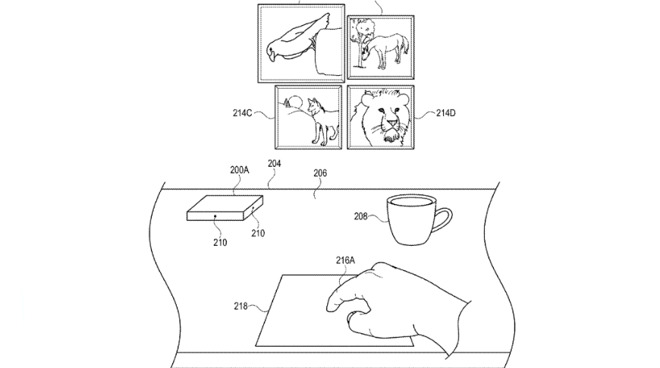 The four images at the top are meant to be being displayed in AR, while the trackpad-style device at the bottom is a physical one that the user can control