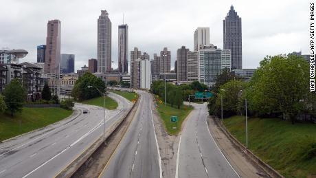 A lone car is seen on the highway leading to Atlanta, Georgia on April 23.