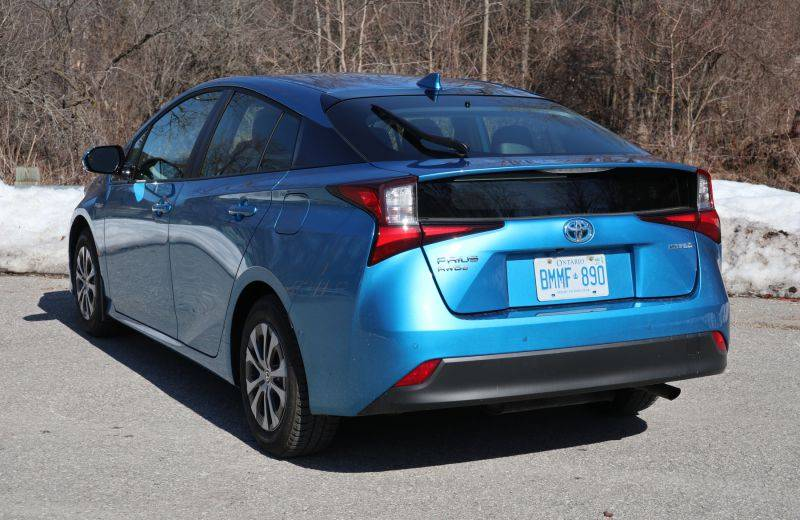 Back view of the 2020 Toyota Prius Technology AWD-e. — Jil McIntosh/Postmedia