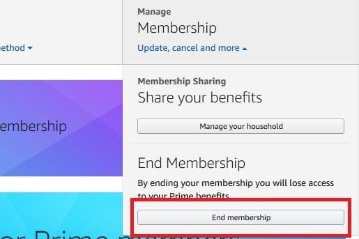 Amazon Prime End Membership button screenshot