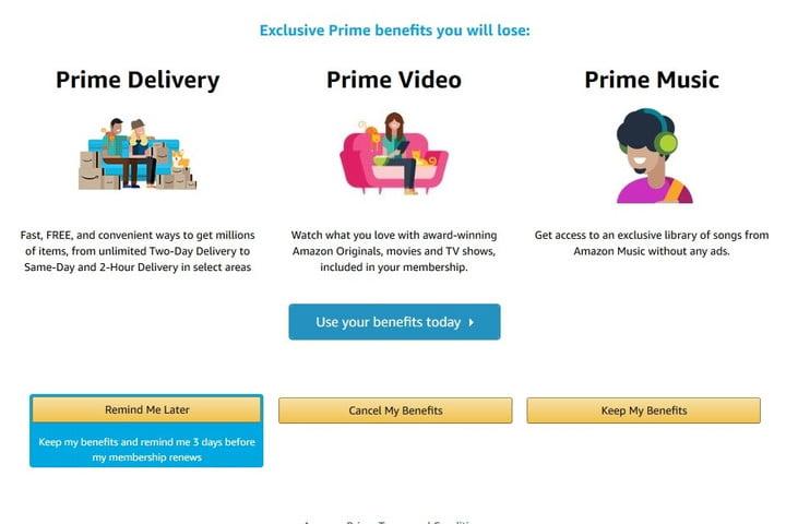 Amazon Prime Confirm Cancellation