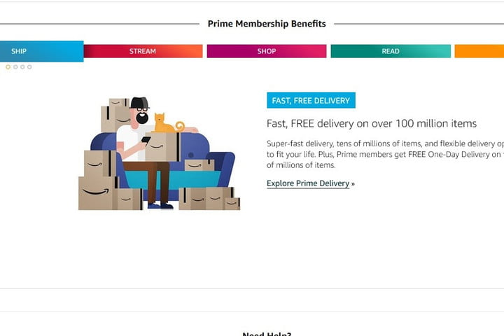 Amazon Prime Benefits screenshot