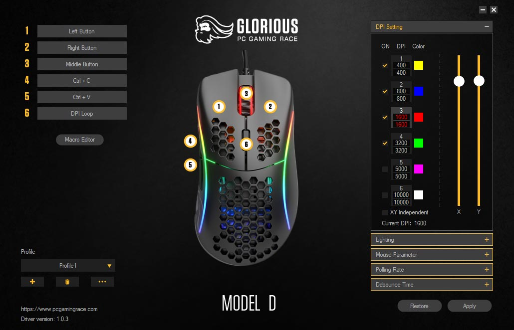 Glorious Model D Software app for Windows screenshot