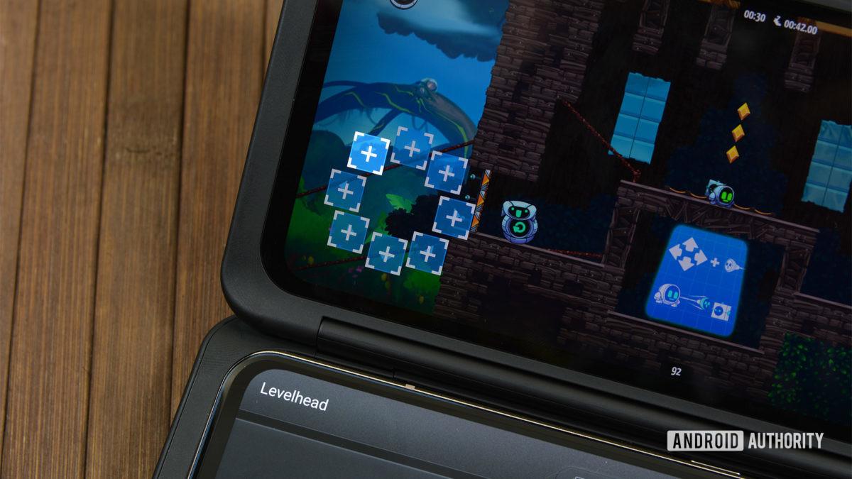 Photograph of the LG V60 dual screen case as a controller