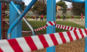 School children of essential workers are seen during recess away from closed playground areas ahead of opening next week at Lysterfield Primary School on 22 May 2020 in Melbourne, Australia.