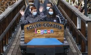 People ride the Roller Coaster at Lagoon Amusement Park Saturday, 23 May 2020, in Farmington, Utah.