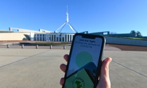 An iPhone displays the CovidSafe App, released by the Australian government in front of the Parliament House in Canberra, Australia, 5 May 2020.