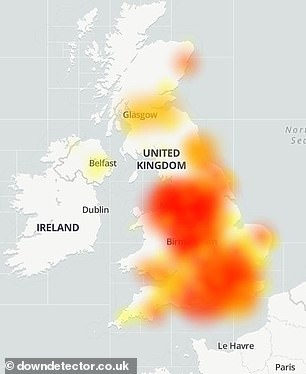 It appears the outage is nationwide, with the most reports coming from Glasgow , Derby and Birmingham, according to DownDetector
