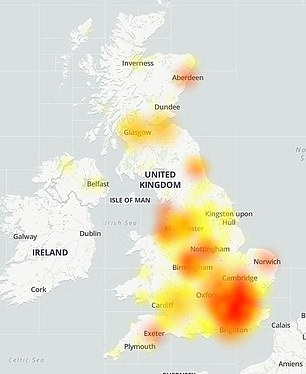 Pictured, the extent of BT's internet outage