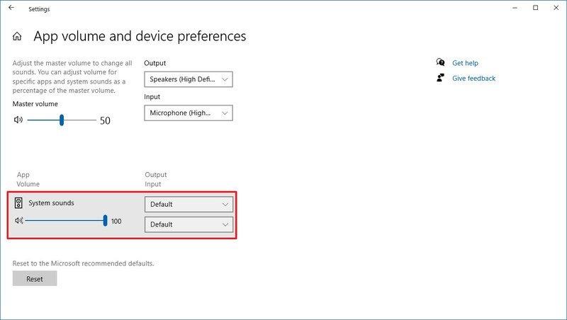 Windows 10 App volume and devices preferences