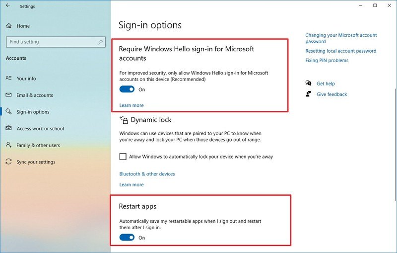 Require Windows Hello sign-in for Microsoft account option