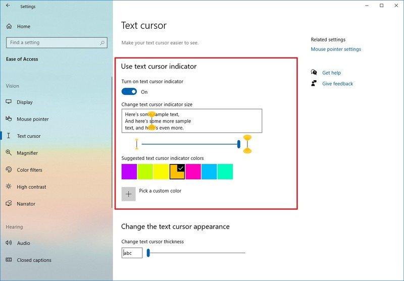 Windows 10 Text cursor settings