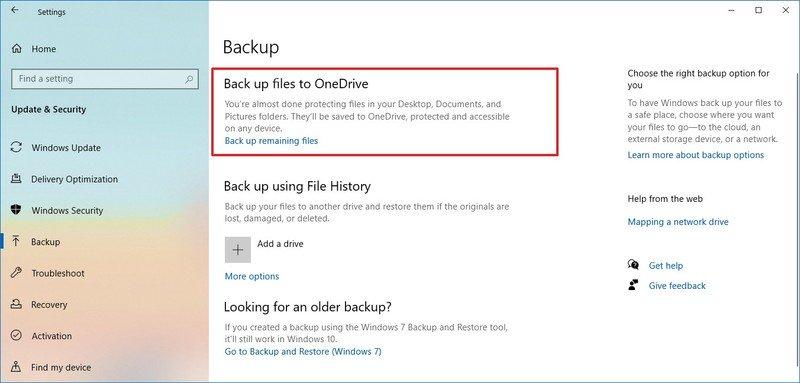 Windows 10 backup files to OneDrive option