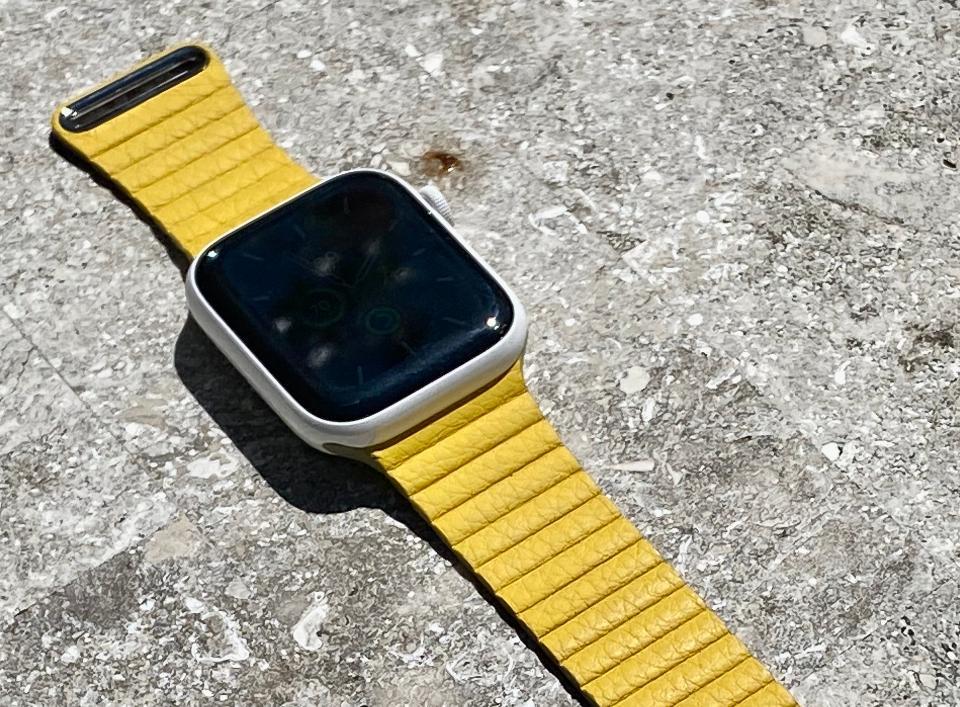Meyer Lemon Leather Loop on Apple Watch
