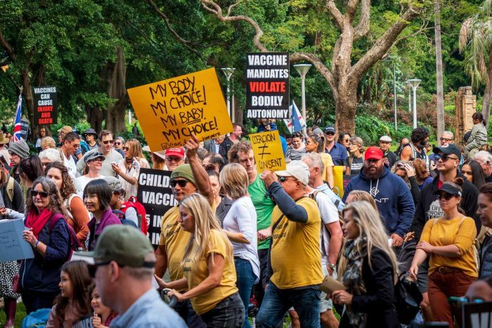 Protestors attend a rally again mandatory vaccinations in Sydney's Hyde Park on Saturday.
