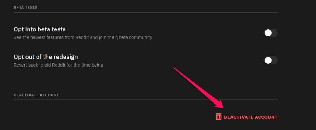 reddit deactivate button