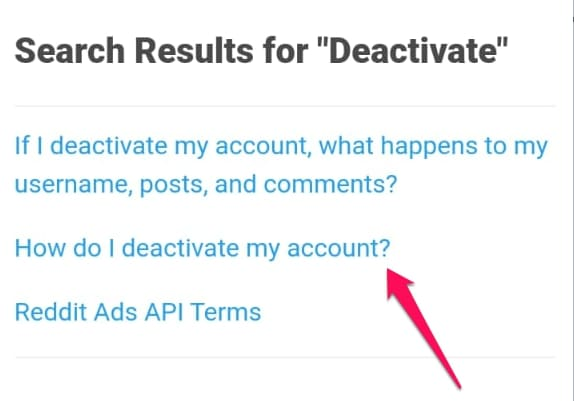 tap on how do I deactivate my reddit account