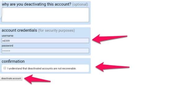 permanently deactivate reddit account