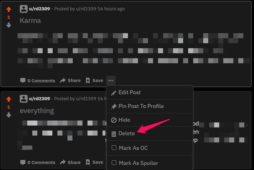 reddit post delete button