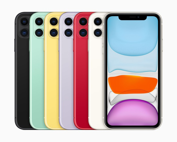 The Apple iPhone 11 in six colors.